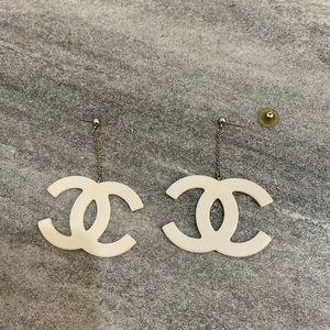 Vintage rare Chanel white earrings